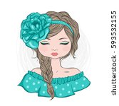 cute girl with flower on head... | Shutterstock .eps vector #593532155