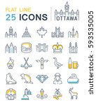 set  line icons in flat design... | Shutterstock . vector #593535005