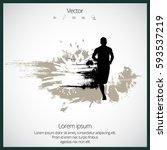 silhouette of marathon runner | Shutterstock .eps vector #593537219