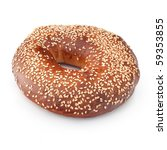 Bagel, isolated on white, with sesame seeds. - stock photo