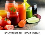 glasses with fresh organic... | Shutterstock . vector #593540834