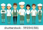 a young team of restaurant... | Shutterstock .eps vector #593541581