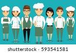 a young team of restaurant... | Shutterstock .eps vector #593541581