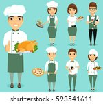 restaurant employees. a set of... | Shutterstock .eps vector #593541611