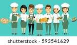 the team of the restaurant... | Shutterstock .eps vector #593541629
