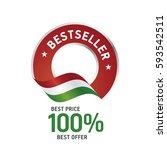 bestseller flag red color label ... | Shutterstock .eps vector #593542511