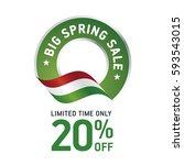 spring sale 20 percent 20 flag... | Shutterstock .eps vector #593543015