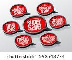 super sale speech bubbles set ... | Shutterstock .eps vector #593543774