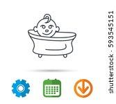baby in bath icon. toddler... | Shutterstock .eps vector #593545151