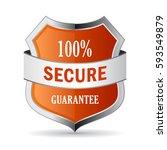100 secure guarantee shield... | Shutterstock .eps vector #593549879