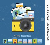 social concept  camera and the... | Shutterstock .eps vector #593551145