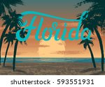 poster with florida sunset ... | Shutterstock .eps vector #593551931
