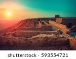 beautiful sunrise over masada... | Shutterstock . vector #593554721