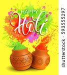 happy holi background with... | Shutterstock .eps vector #593555297