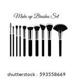 makeup brushes kit. hand drawn... | Shutterstock .eps vector #593558669