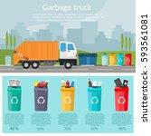 garbage sorting bins... | Shutterstock .eps vector #593561081