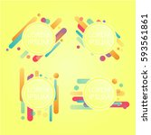 abstract retro background with... | Shutterstock .eps vector #593561861