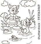 coloring page outline of... | Shutterstock .eps vector #593563469