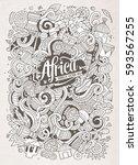 cartoon cute doodles hand drawn ... | Shutterstock .eps vector #593567255