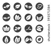 leave leaf icon set vector   Shutterstock .eps vector #593571584
