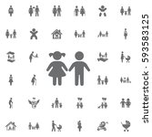 girl and boy icon on white... | Shutterstock .eps vector #593583125