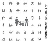 traditional family mom dad boy... | Shutterstock .eps vector #593583179