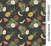 seamless pattern with bananas ... | Shutterstock .eps vector #593586101