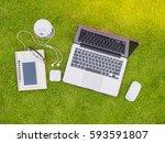 top view of laptop  notebook ... | Shutterstock . vector #593591807