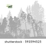 forest tracing. vector | Shutterstock .eps vector #593594525