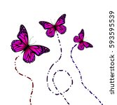 flying butterflies. vector | Shutterstock .eps vector #593595539