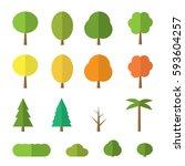vector flat trees on white... | Shutterstock .eps vector #593604257