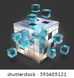 challenge. metal cube with blue ... | Shutterstock . vector #593605121