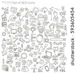 hand drawn seo icons. vector... | Shutterstock .eps vector #593605454
