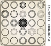 vintage set of vector round... | Shutterstock .eps vector #593607419