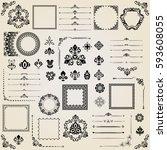 vintage set of vector... | Shutterstock .eps vector #593608055
