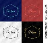 vintage vector monogram.... | Shutterstock .eps vector #593609225