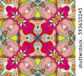 decorative hand drawn seamless... | Shutterstock .eps vector #593610245