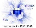premium cream ads. blue... | Shutterstock .eps vector #593611547