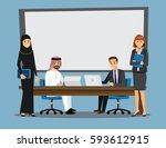 business people having board... | Shutterstock .eps vector #593612915