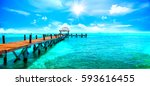 exotic paradise. travel ... | Shutterstock . vector #593616455