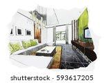 interior perspective sketch... | Shutterstock . vector #593617205