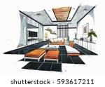 interior perspective sketch... | Shutterstock . vector #593617211