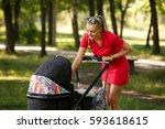 young mother looking in... | Shutterstock . vector #593618615