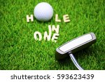 hole in one wording with putter ... | Shutterstock . vector #593623439