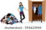 woman creating a minimalist... | Shutterstock .eps vector #593623904