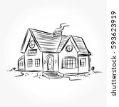 sketch of  house architecture ... | Shutterstock .eps vector #593623919