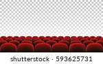rows of red movie theater seats ... | Shutterstock .eps vector #593625731