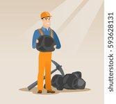 caucasian male miner in hard... | Shutterstock .eps vector #593628131