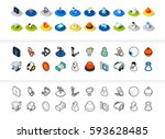 set of icons in different style ... | Shutterstock .eps vector #593628485