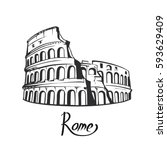rome colosseum sign. italian... | Shutterstock .eps vector #593629409